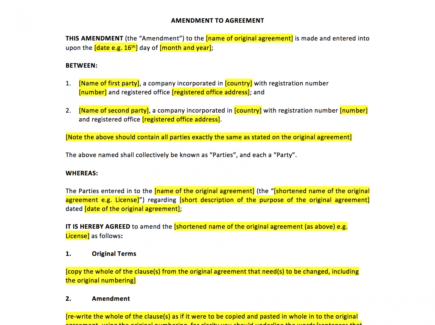 Amendment to agreement template uk template agreements for Director employment contract template