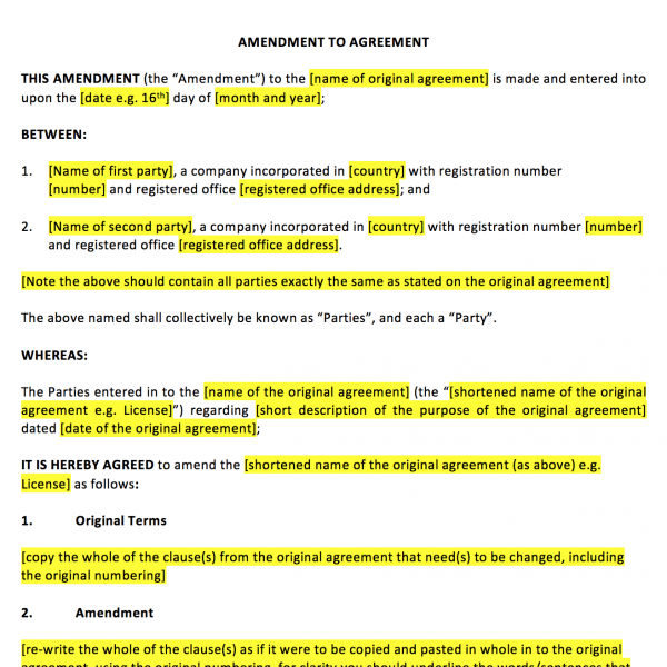 Amendment to Agreement Template