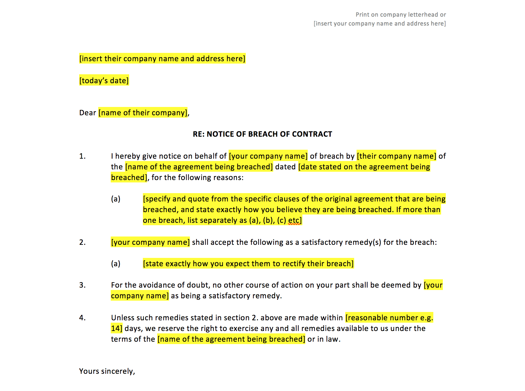Breach Of Contract Notice Template UK Template