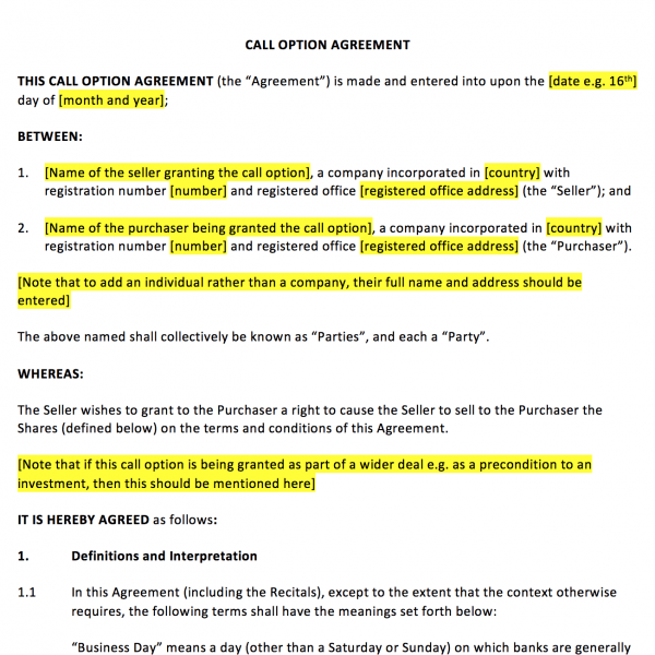 Call Option Agreement Template
