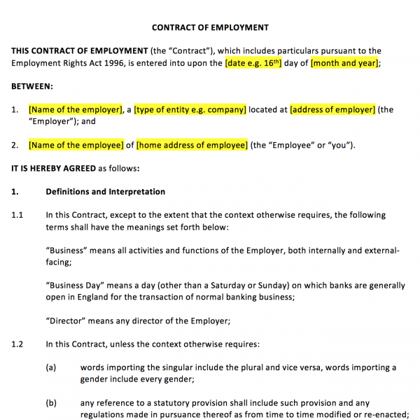 Contract of Employment Template