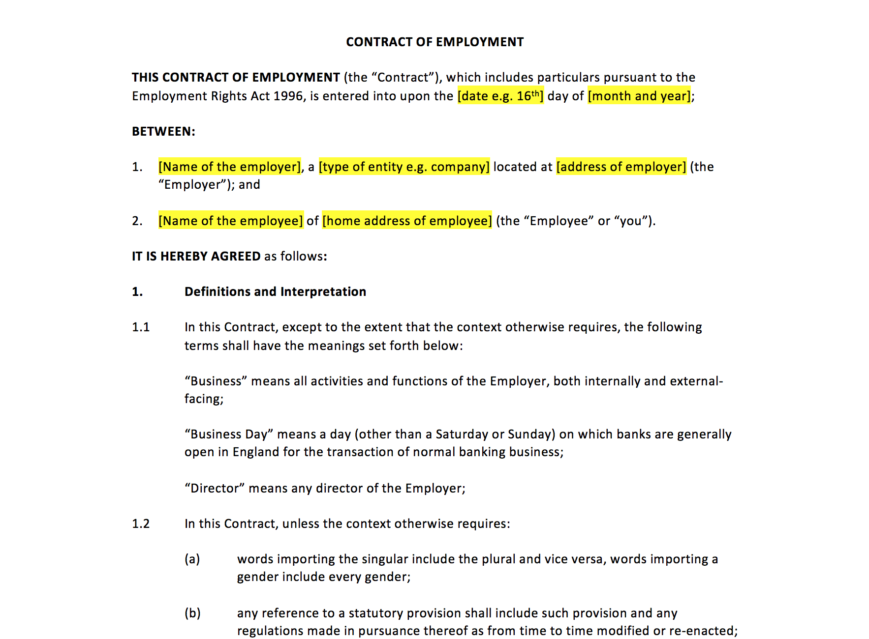 Employment Contract Template Sample Full Time Employment