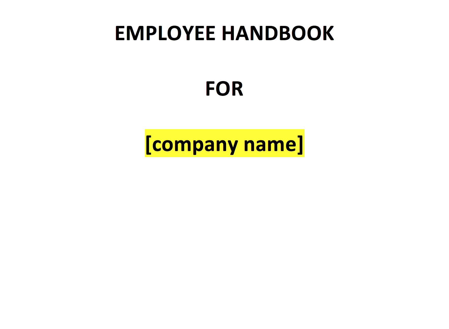 Employee Handbook Template UK Template Agreements And Sample Contracts - Basic employee handbook template