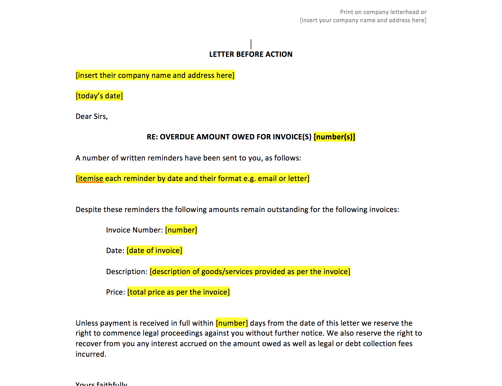 Letter before small claim template word & pdf.