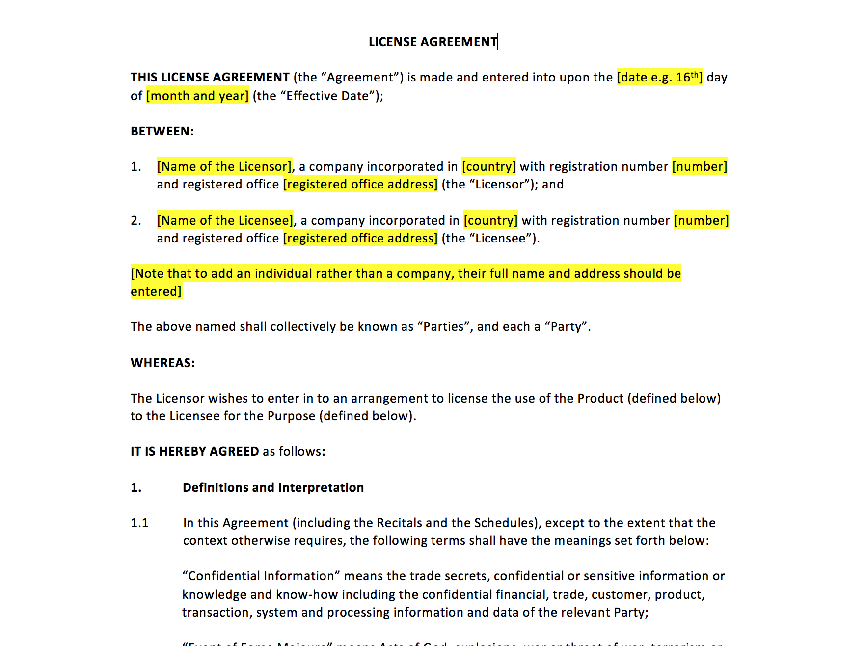 License agreement template uk template agreements and for Product license agreement template