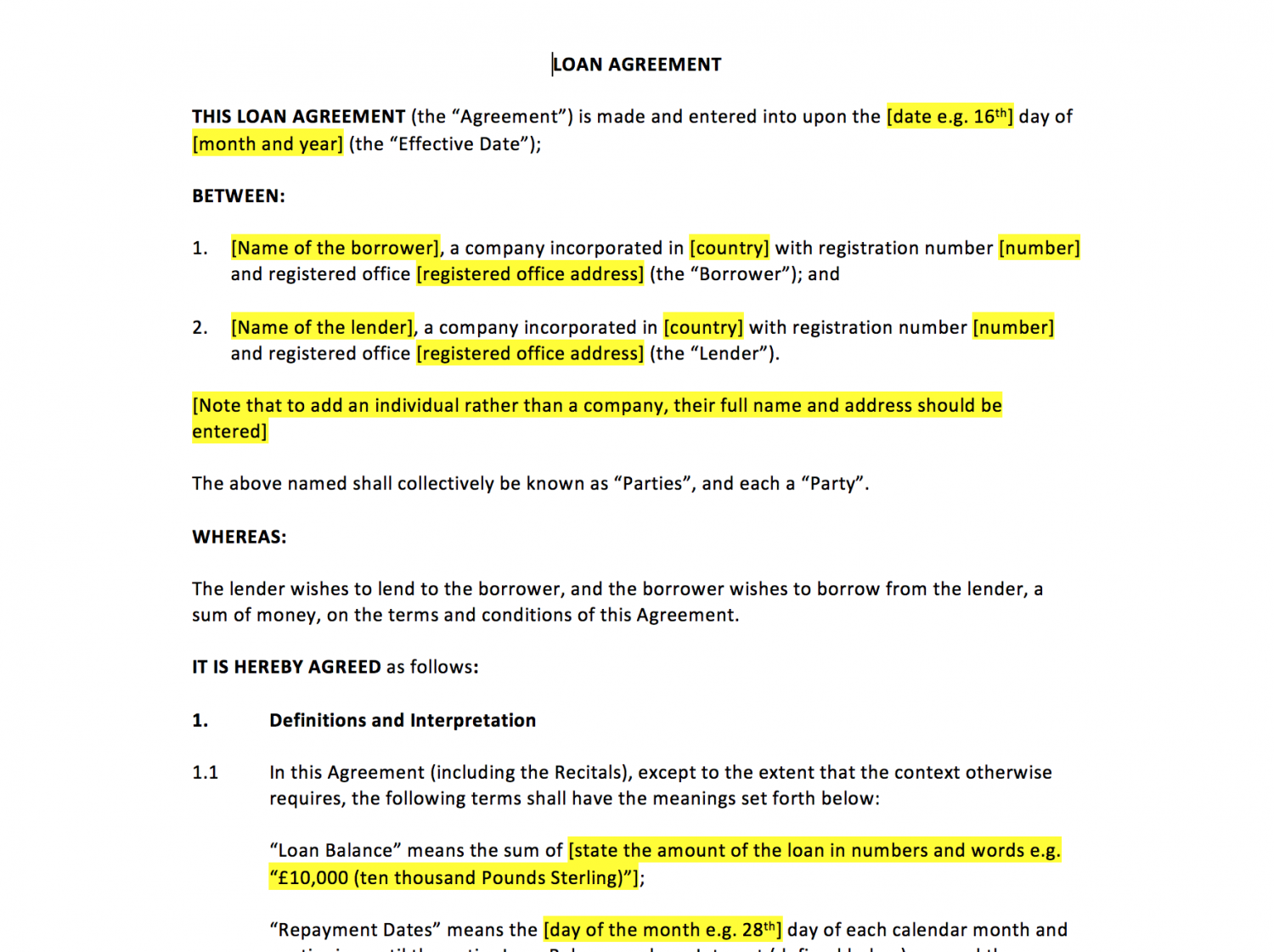 Doc500645 Unsecured Loan Agreement Template Agreement Form – Unsecured Loan Agreement Template