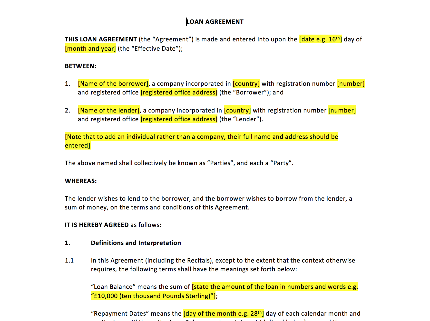 Loan agreement template uk template agreements and for Directors loan to company agreement template
