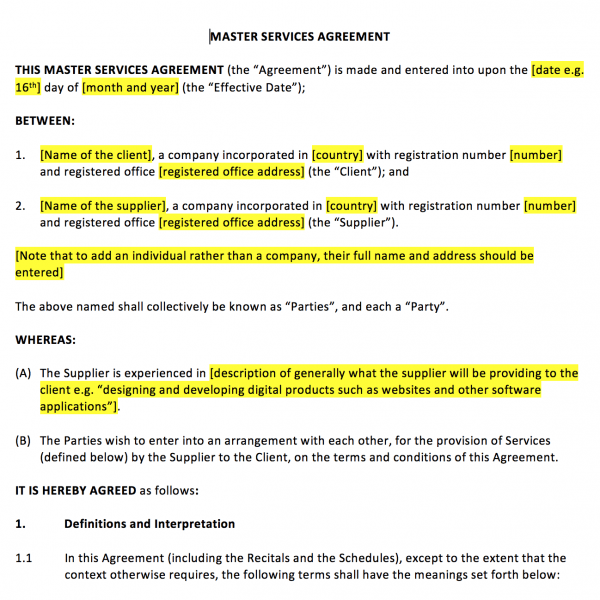 master services agreement template master services agreement template ...