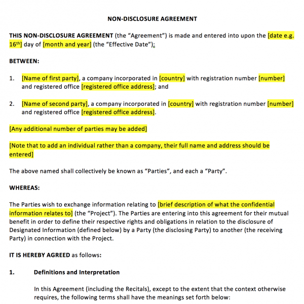 Non Disclosure Agreement Template – UK Template Agreements