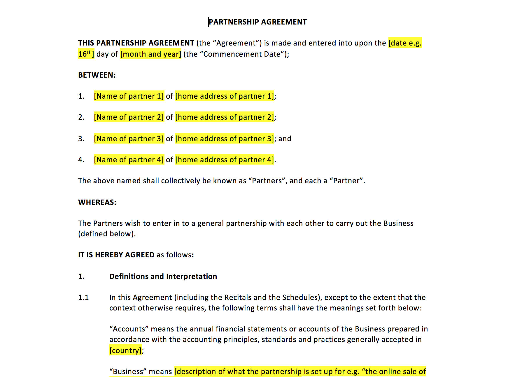 partnership agreement template  u2013 uk template agreements