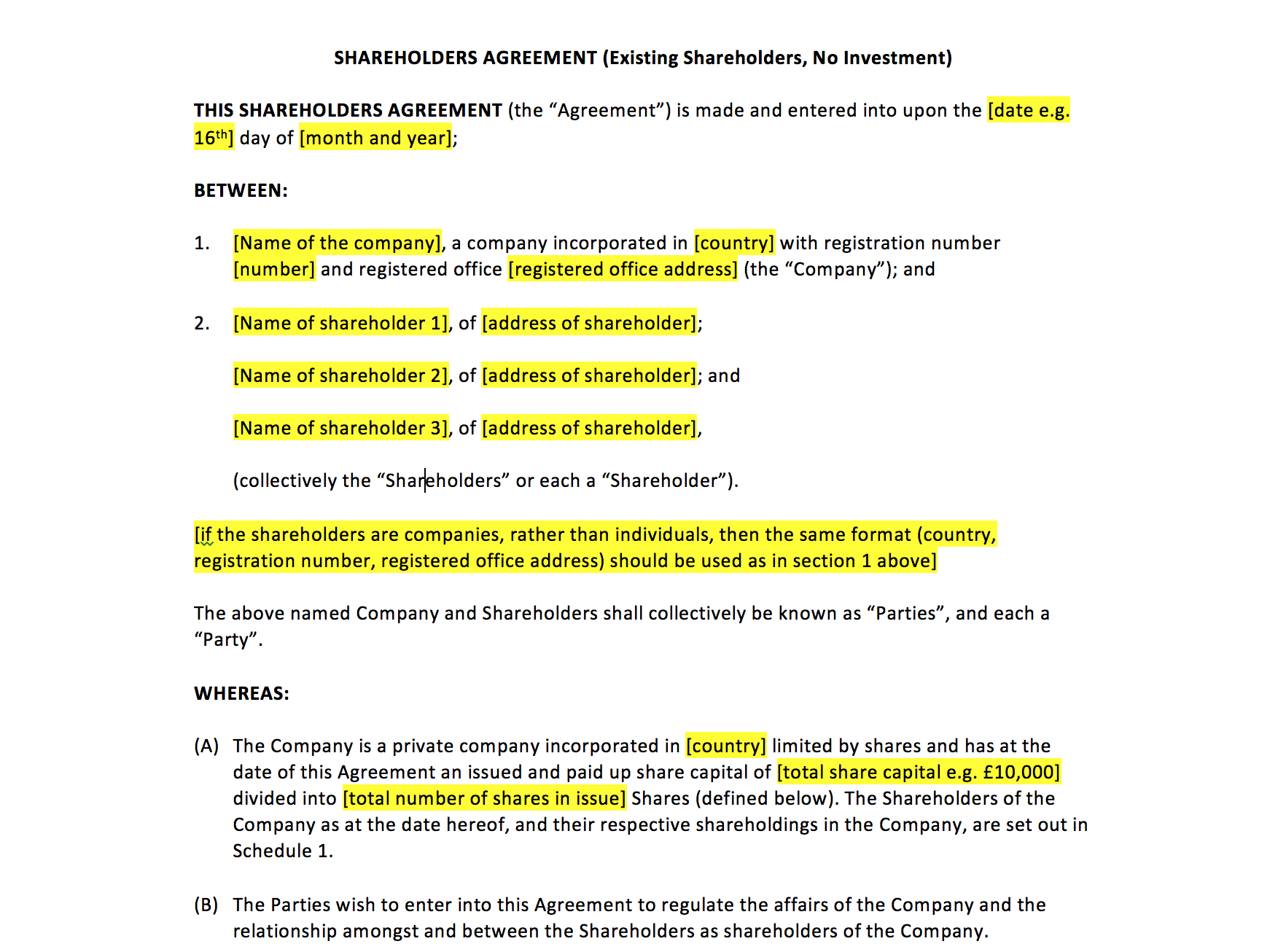 Shareholders Agreement Template – UK Template Agreements and Sample ...