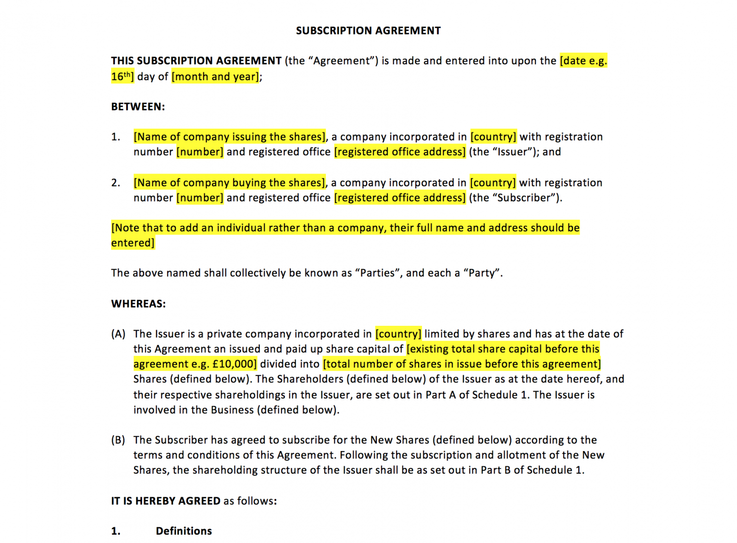 Subscription Agreement Template UK Template Agreements and – Subscription Agreement Template