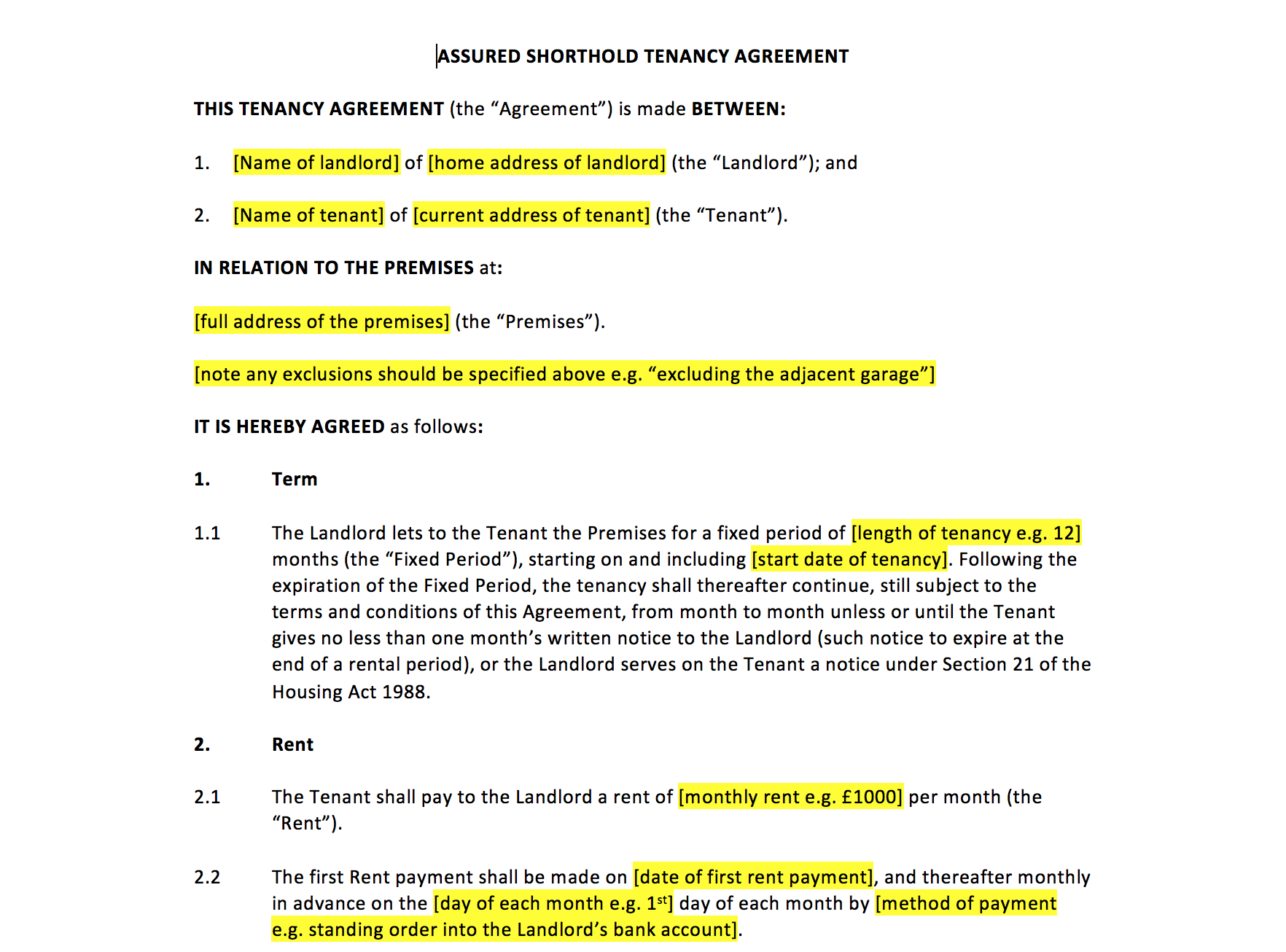 Tenancy Agreement Template Uk Template Agreements And Sample Contracts