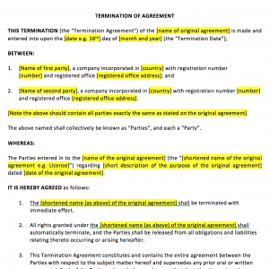 Termination of Agreement Template